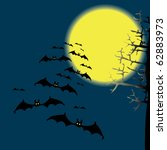 bats in the night sky. drawing | Shutterstock . vector #62883973