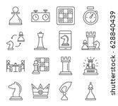 set of chess related vector... | Shutterstock .eps vector #628840439
