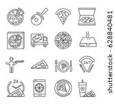 set of pizza related vector... | Shutterstock .eps vector #628840481
