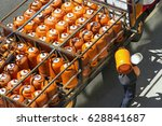 gas bottles with butane in... | Shutterstock . vector #628841687