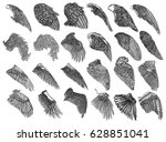 set of hand drawn vintage... | Shutterstock .eps vector #628851041