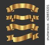 set of golden ribbons on black...   Shutterstock .eps vector #628853201