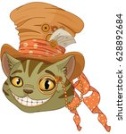 Stock vector cheshire cat in top hat and monocle in steampunk stile 628892684