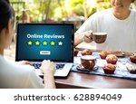 online reviews evaluation time... | Shutterstock . vector #628894049