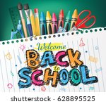 back to school colorful text... | Shutterstock .eps vector #628895525
