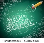 welcome back to school drawing... | Shutterstock .eps vector #628895531