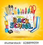 back to school colorful text in ... | Shutterstock .eps vector #628899059