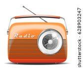 Orange Retro Radio. Vintage....