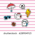 set of cute patch isolated on... | Shutterstock .eps vector #628904915