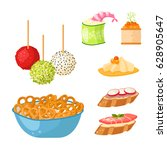 various meat canape snacks... | Shutterstock .eps vector #628905647