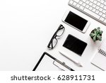 modern office table with... | Shutterstock . vector #628911731