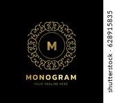 luxury monogram logo template.   Shutterstock .eps vector #628915835