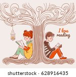 Cute Boy And Girl Reading Book...