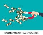 businessman attracting money...   Shutterstock .eps vector #628922801