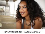 beautiful young girl with curly ... | Shutterstock . vector #628923419
