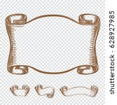 hand drawing old ribbons set... | Shutterstock .eps vector #628927985