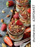 dessert with muesli and... | Shutterstock . vector #628936457