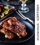 roasted sliced barbecue pork... | Shutterstock . vector #628955864
