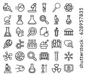 research icons set. set of 36... | Shutterstock .eps vector #628957835