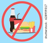 vector food icon. no fast food. | Shutterstock .eps vector #628959317