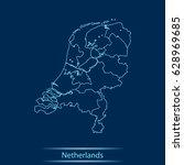 map of netherlands | Shutterstock .eps vector #628969685