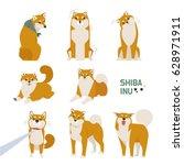 Stock vector japan dog shiba inu character vector illustration flat design 628971911