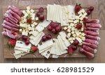 cheese plate  emmental ... | Shutterstock . vector #628981529