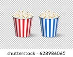 popcorn red and blue buckets... | Shutterstock .eps vector #628986065