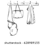hand drawn wardrobe sketch with ... | Shutterstock .eps vector #628989155