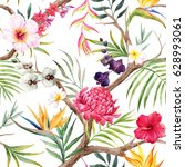 watercolor  exotic tropical... | Shutterstock . vector #628993061