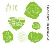 set of organic food labels. eco ...   Shutterstock .eps vector #628996451