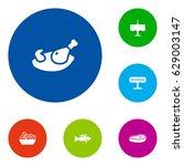 set of 6 restaurant icons set... | Shutterstock .eps vector #629003147