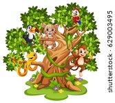 vector illustration of wild... | Shutterstock .eps vector #629003495