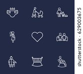 set of 9 people outline icons... | Shutterstock .eps vector #629003675