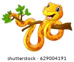 Stock vector vector illustration of cartoon snake on branch 629004191
