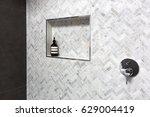 shower shelf detail in wall of... | Shutterstock . vector #629004419