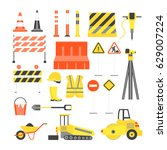 cartoon road construction color ... | Shutterstock .eps vector #629007224