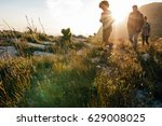 group of young people on... | Shutterstock . vector #629008025