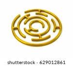 3d Illustration Of Golden Roun...