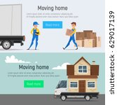 vector cartoon style moving... | Shutterstock .eps vector #629017139