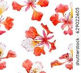 watercolor tropical flower... | Shutterstock . vector #629022605