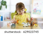 happy little kid girl. smiling... | Shutterstock . vector #629023745