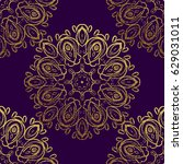 seamless gold decorative... | Shutterstock .eps vector #629031011