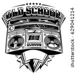 old school music emblem with... | Shutterstock .eps vector #629041214