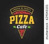 pizzeria logo template. vector... | Shutterstock .eps vector #629043101