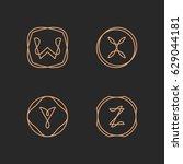 vector letters w  x  y  z logo... | Shutterstock .eps vector #629044181