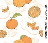 mandarin fruit graphic color... | Shutterstock .eps vector #629047385