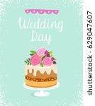 happy wedding day vector... | Shutterstock .eps vector #629047607