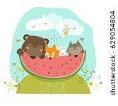 cute animals eating watermelon... | Shutterstock .eps vector #629054804