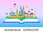 europe   modern vector line... | Shutterstock .eps vector #629062109